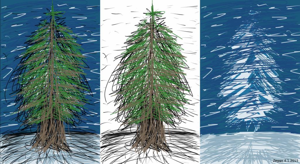 Kolme versiota kuvasta, jossa on kuusi lumisessa maisemassa.