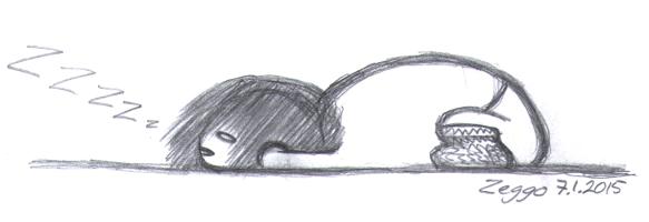 Pallomainen maahan lyhistynyt nukkuva hahmo