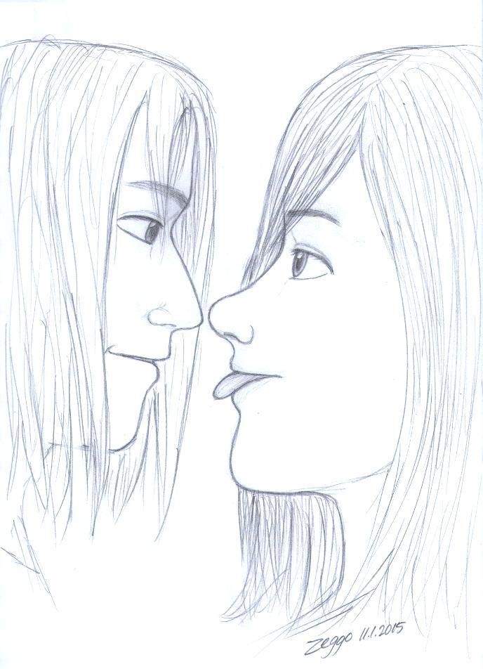 Nuori mies ja nainen katsovat toisiaan iloisina, nainen näyttää kieltä