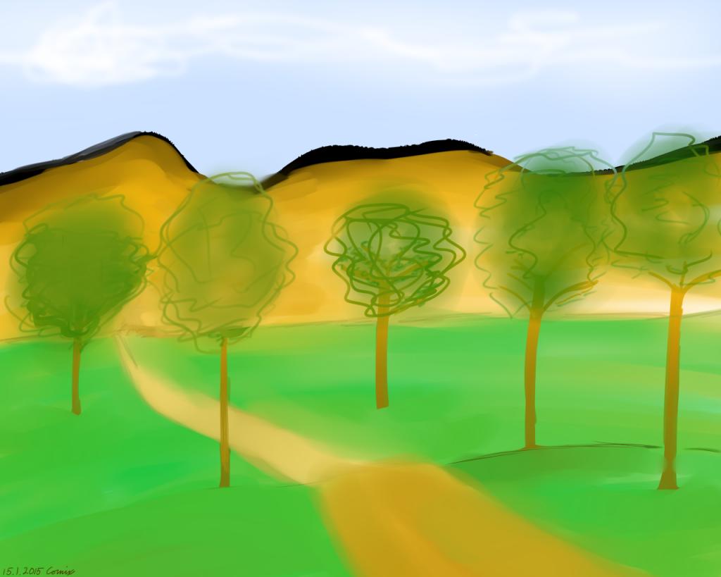 maalaus maisemasta, jossa taustalla ruskeita vuoria ja etualalla nurmea ja lehtipuita polun varrella