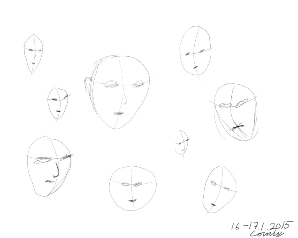 kasvojen luonnoksia