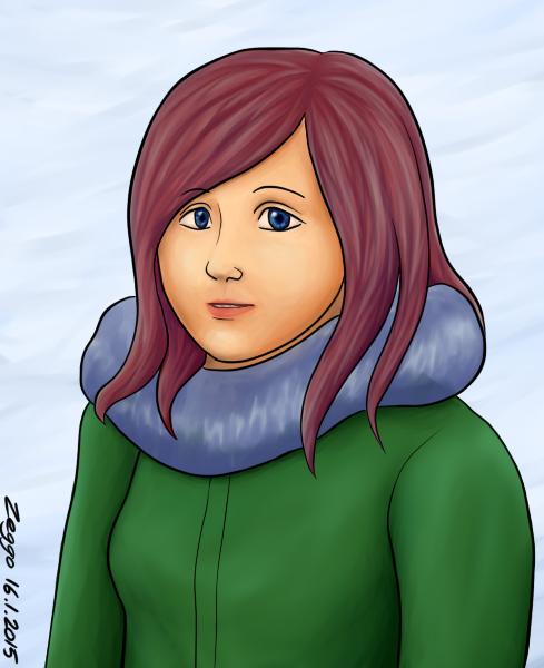Monalisamainen muotokuva punahiuksisesta naisesta talvivaatteissa