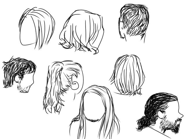 Kahdeksan kasvotonta päätä erilaisilla hiuksilla