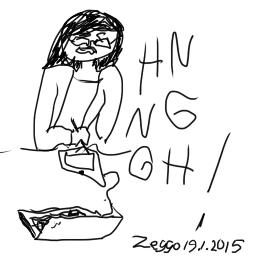 """Suttuinen kuva tekijästä piirtämässä tuskaisena oikealla kädellä piirtolaudalla, teksti """"HN NG GH!"""""""
