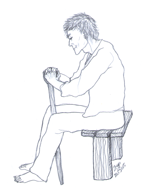Vanha mies istuu penkillä ja nojaa kävelykeppiin