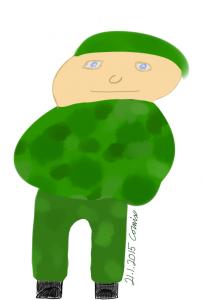 Piirroshahmomainen varusmies vihreässä maastopuvussa