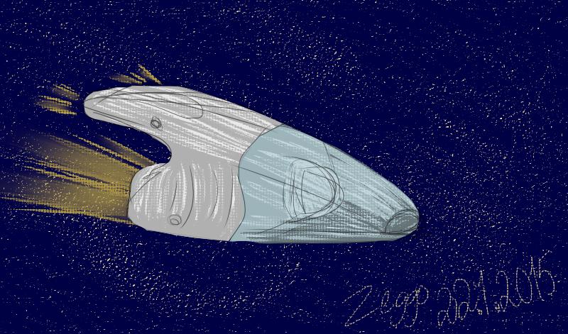 Rikkaimurin näköinen avaruusalus alus lentää tähtiavaruudessa