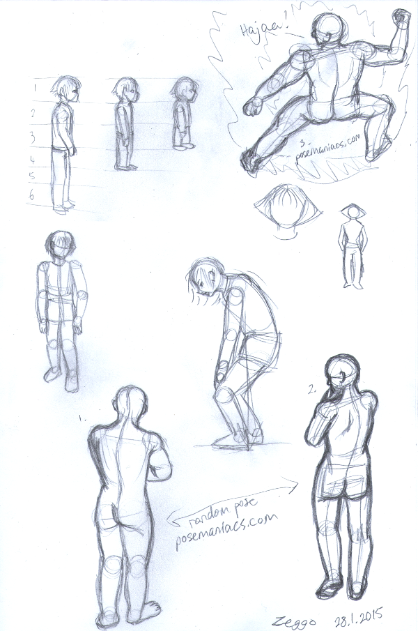 Luonnoksia hahmosta eri mittasuhteilla, mallista piirrettyjä asentoja