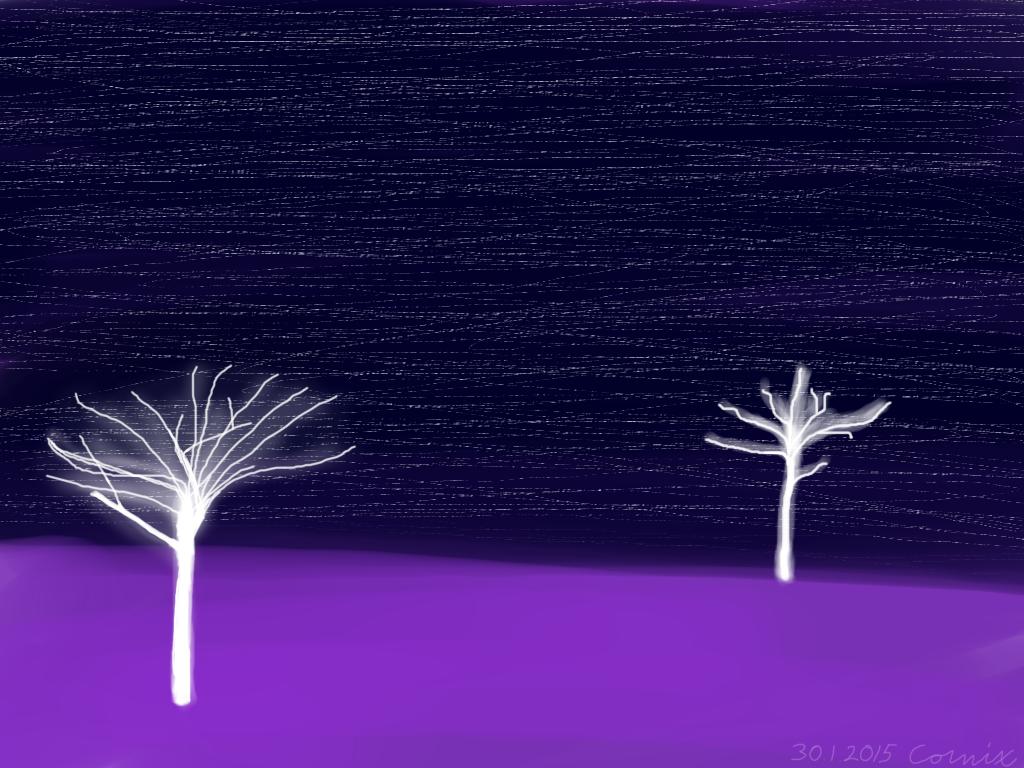 Violetti maasto, jossa kaksi valkoista hohtavaa puunrunkoa
