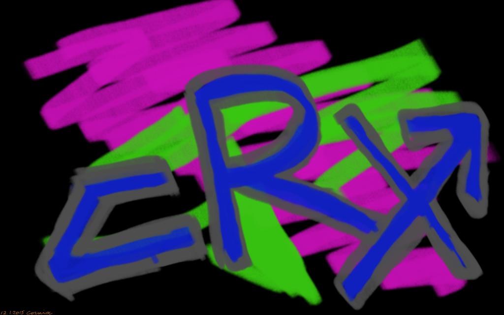 graffittimainen teksti CRX, jossa X-kirjaimen oikeassa ylänurkassa nuolen kärki. Taustalla violettia ja vihreää väriä - itse teksti on sininen.