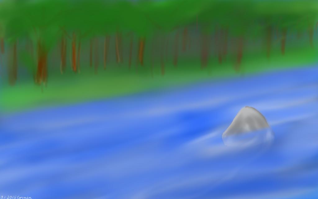 Maalaus, jossa taustalla metsää ja edustalla joki. Pieni kivi jakaa veden virtausta.
