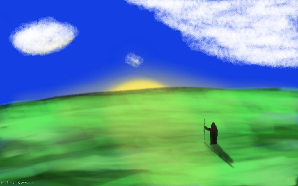 Vihreä maisema, jossa tumma hahmo keeping kanssa katsoo horisontissa siintävää aurinkoa