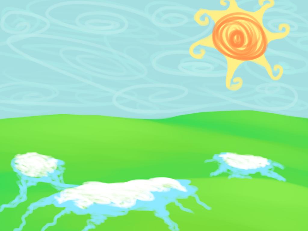 Vihreitä mäkiä, joilla laikkuja sulavaa lunta. Sininen taivas ja kevätaurinko.