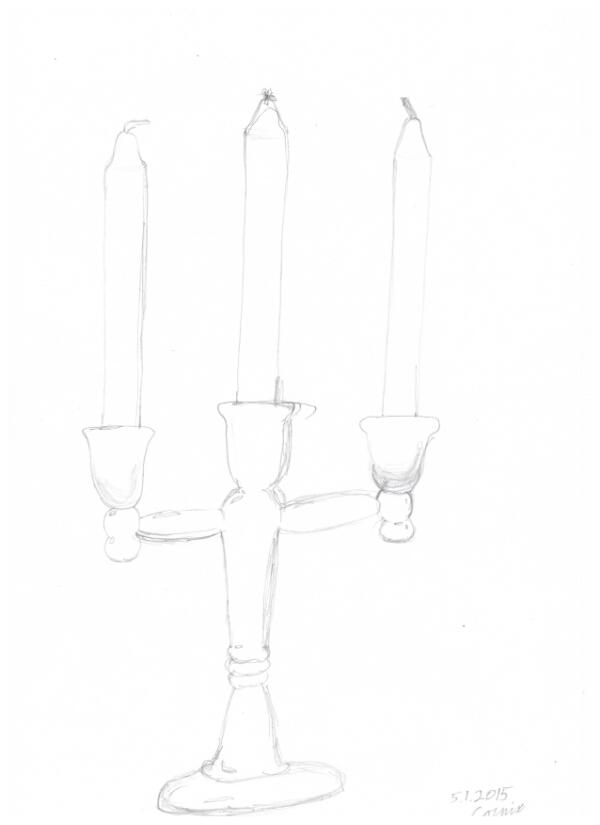 kynttelikkö kolmella kynttilällä