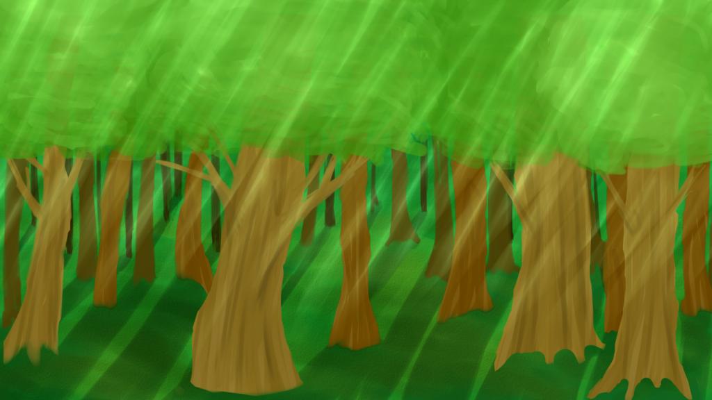 Varjoisa metsä, jossa valonsäteitä