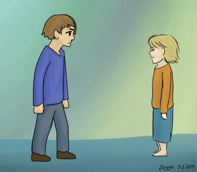 Sarjakuvamaiset vanhempi poika ja nuori tyttö seisovat katsoen toisiaan