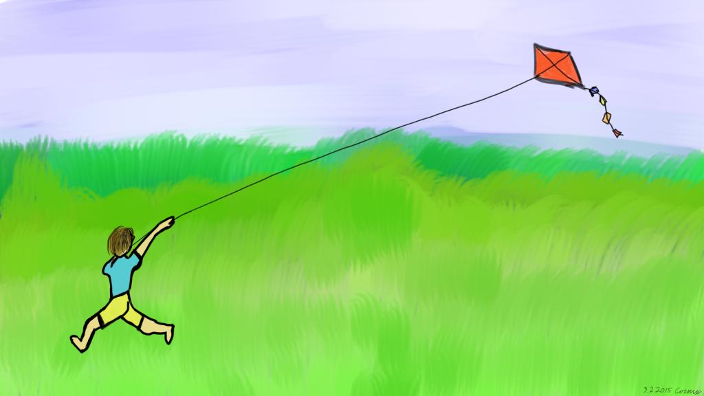 Juokseva ihminen shortseissa ja t-paidassa lennättämässä punaista leijaa vihreällä niityllä