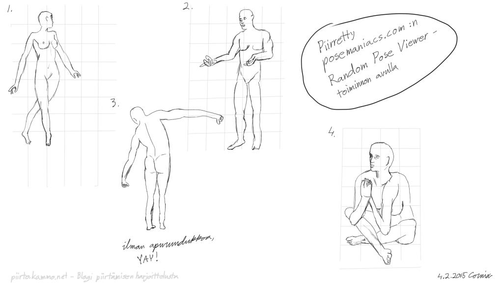 Neljä alastonmalliposeerausta. Naishahmo diivailevalla kävelytyylillä, mieshahmo seisaaltaan kädet eteen ojennettuina hämmentyneenä, mieshahmo seisaallaan takaa kuvattuna kädet sivuilla ja yläkroppa taivutettuna vasemmalle sekä nainen, joka istuu risti-istunnassa ja pitelee käsiään yhdessä rintakehänsä edessä