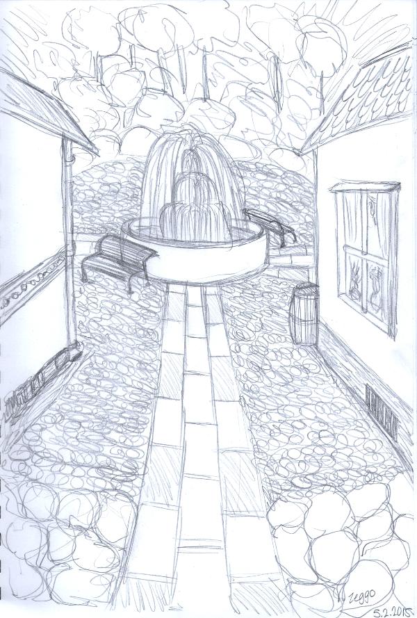 Näkymä kahden talon välistä suihkulähteelle aukiolla