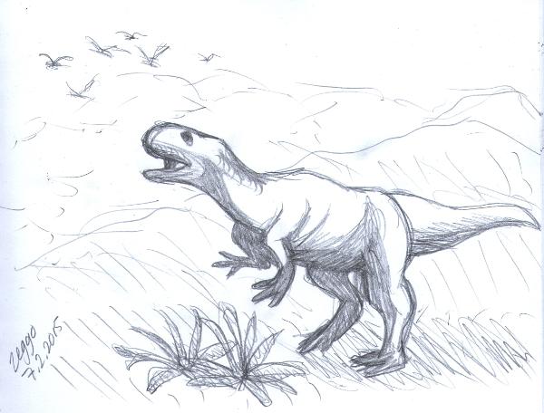 Dinosaurus esiaikaisessa maisemassa