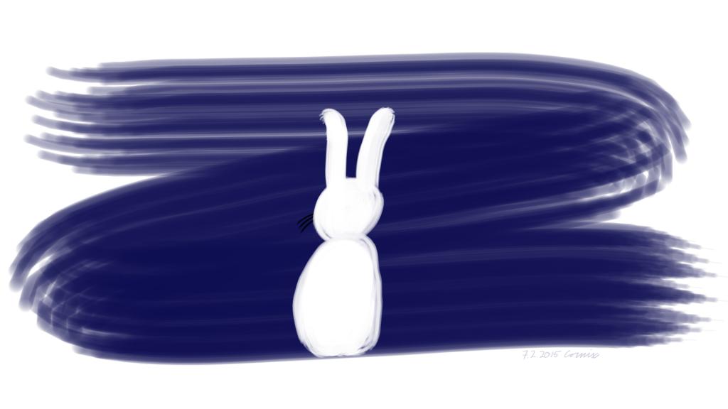 Sininen maalisiveltimen jälki valkoisella pohjalla ja sen päälle piirretty valkoinen jänis istumassa