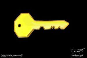 Keltainen avain mustalla taustalla