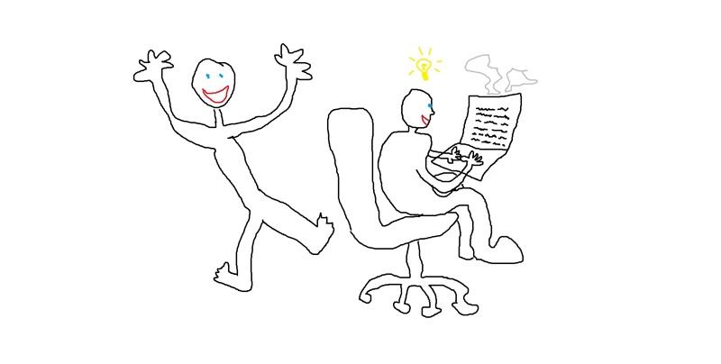 Iloinen hahmo, toinen hahmo istuu toimistotuolilla idealamppu päänsä yläpuolella ja kirjoittaa kannettavalla, joka savuaa.