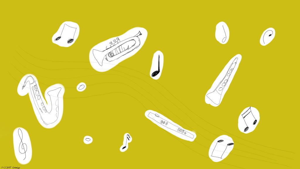 Keltainen taustaväri, jonka päällä valkoisia alueita, joissa nuotteja ja puhallinsoittimia (saksofoni, trumpetti, klarinetti, poikkihuilu)