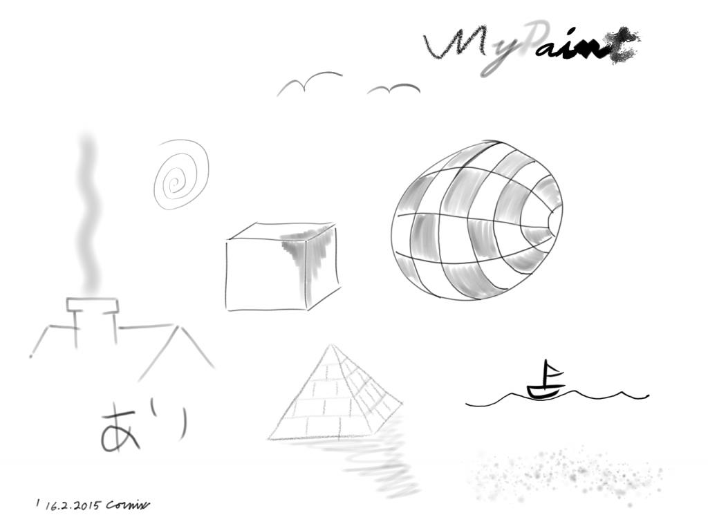 Erilaisia kuvioita ja kuvia luonnosteltuina erilaisilla siveltimillä. Mm. kuutio, pallo, talon katto, pyramidi ja pieni paatti vedessä.