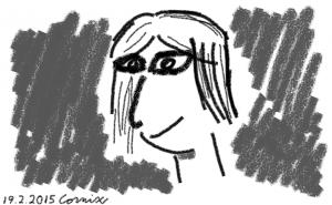 Hiilimäisellä jäljellä piirretyt piirroshahmomaiset kasvot
