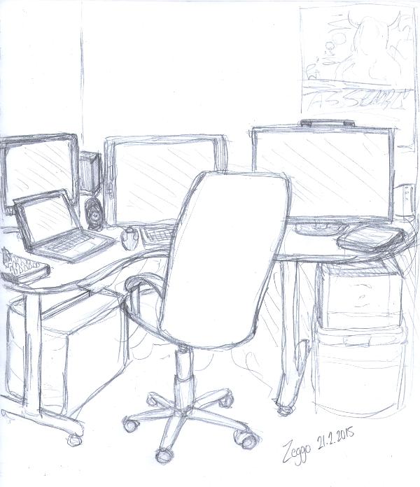 Pöytä täynnä koneita ja näyttöjä, edessä tuoli