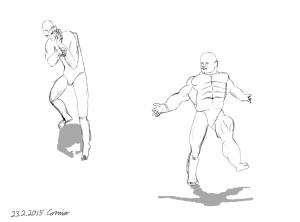 Kaksi hahmotelmaa ihmishahmoista. Molemmat kuvattu edestä päin. Ensimmäinen hahmo nyrkkeilyasennossa, toinen taaksepäin horjahtava muskelimies.