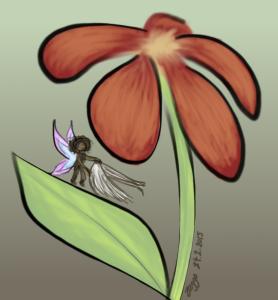 Punainen kukka, jonka lehdellä pieni keiju käsissään pienet siivet