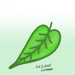 Vihreä puun lehti paksuilla ääriviivoilla