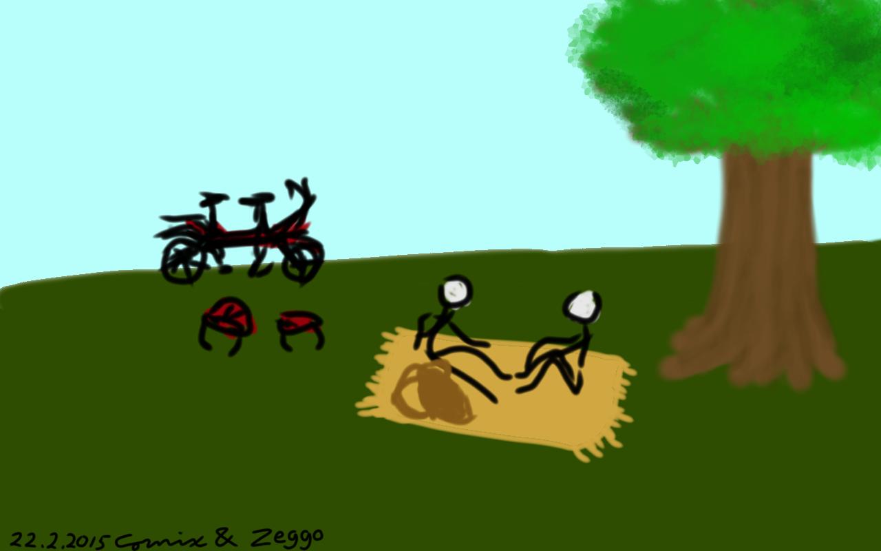 Kaksi tikku-ukkoa piknikillä puun juurella. Taustalla tandem-pyörä.
