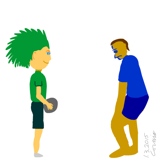 Mies, jolla on vihreä piikkitukka, pitelee palloa ilkikurinen ilme kasvoillaan. Toinen mies sinisessä t-paidassa ja shortseissa on valmiina puolustamaan. Hänellä on tuima ilme.