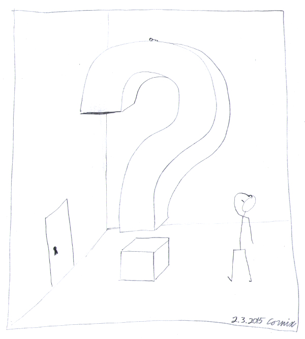 3-ulotteinen huone, jonka keskellä suuri kysymysmerkki. Tikku-ukko raapii päätään. Kysymysmerkin päällä on pieni avain ja yhdellä seinällä ovi, jossa lukonreikä.