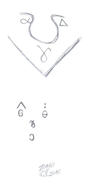 Kaksi symboleista muodostuvaa naamaa
