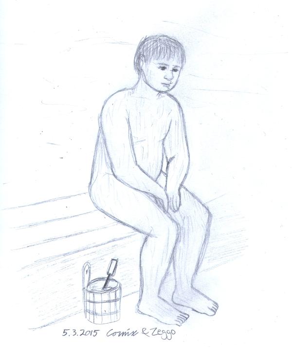 Mies saunassa