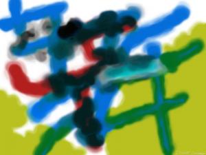 Värikäs taideteos, jossa myös homemaisia värisävyjä