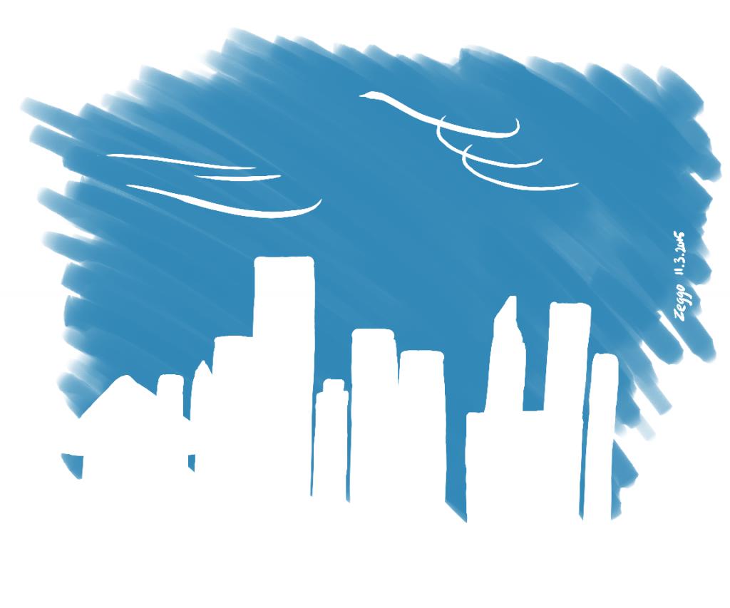 Kaupungin valkoinen siluetti sinitaivasta vasten