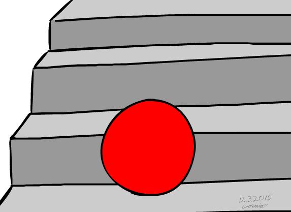 Kirkkaanpunainen pallo harmaissa rappusissa.