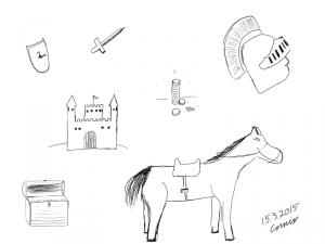 ääriviivapiirrokset seuraavista: kilpi, miekka, linna, rahapino, soturin kypärä harjalla, aarrearkku, hevonen