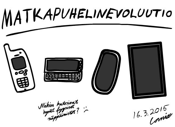 """Alleviivattu otsikkoteksti Matkapuhelinevoluutio sekä neljä puhelinta: vanha antennillinen kännykkä, vaakasuuntainen liukunäppäimistöllinen malli, kosketusnäyttömalli ja isompi kosketusnäyttömalli. Alla teksti """"Mihin katosivat hyvät fyysiset näppäimistöt?"""" ja suruhymiö."""