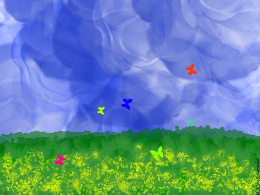 Vihreä-keltainen kukkaketo, sinivalkoinen tausta ja eri värisiä perhosia liitelemässä