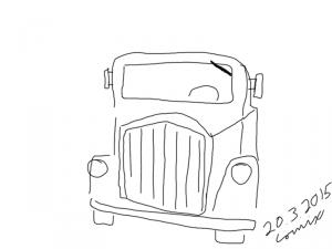 Kuorma-auton ääriviivoin piirrettynä edestä