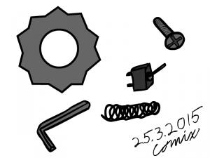 Metallisia osia: hammasratas, kuusiokoloavain, vieteri, flipswitch-käyttökytkin, ristipääruuvi.