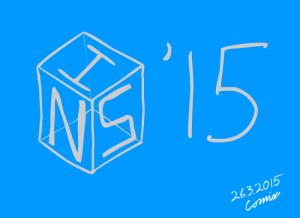 Sininen pohjaväri, vaalea wireframe-kuutio, jossa merkit I, N, S, sekä kuution ulkopuolella '15.