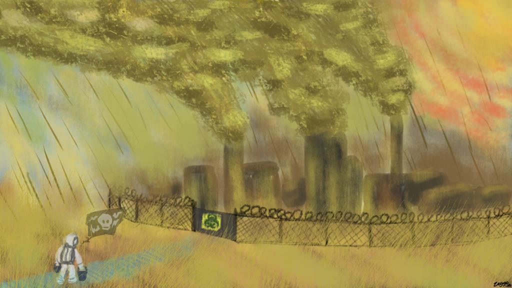 Saasteinen karu maisema, jossa suojapukuinen hahmo kantaa kahta sankoa kohti kaupunkia