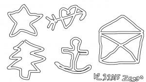 Yksinkertaiset tähti, sydän, kuusi, ankkuri ja kirjekuori